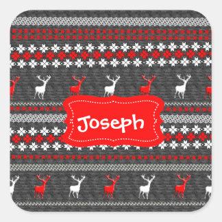 Scandinavian Deer Christmas Pattern Personalized Square Sticker