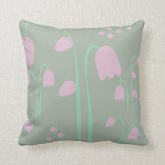 Scandinavian Design Pink and Green Faded Flowers Throw Pillow