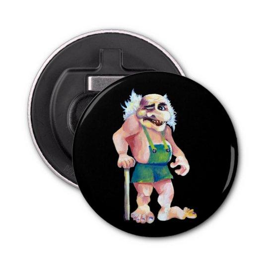 Scandinavian Funny Looking Ogre Troll Button Bottle Opener