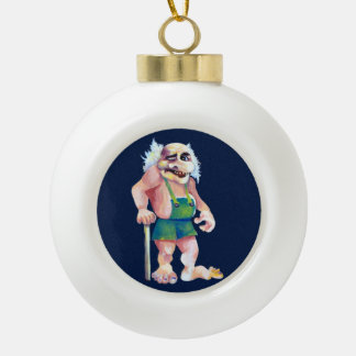 Scandinavian Funny Looking Ogre Troll Ceramic Ball Christmas Ornament