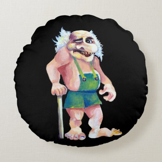 Scandinavian Funny Looking Ogre Troll Round Pillow