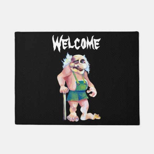 Scandinavian Funny Looking Welcoming Troll Doormat