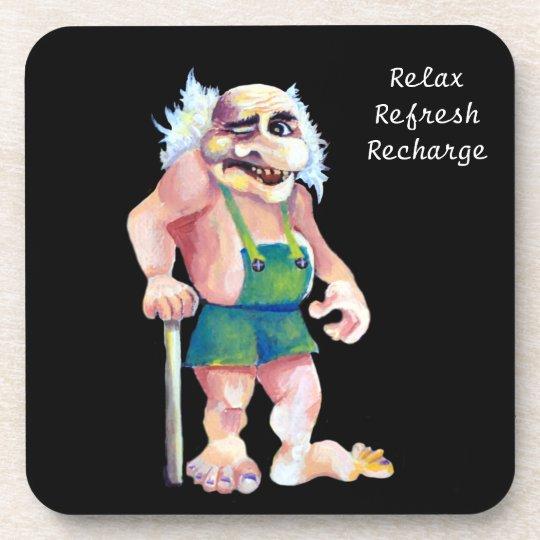 Scandinavian Funny Ogre Troll - Relax Text Drink Coaster