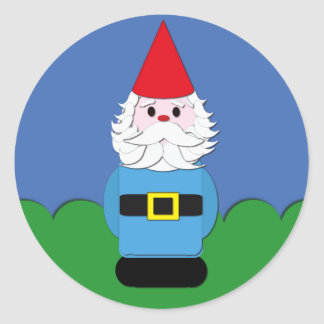 Scandinavian Gnome in the Grass Classic Round Sticker