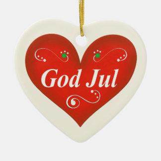Scandinavian God Jul Christmas Heart Ceramic Heart Ornament