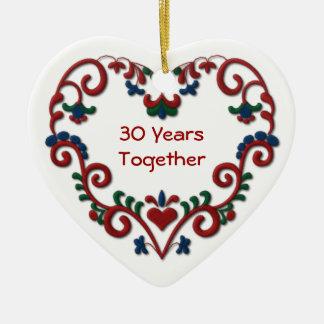 Scandinavian Heart 30 Years Together Ceramic Ornament