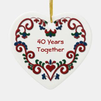Scandinavian Heart 40 Years Together Ceramic Heart Ornament