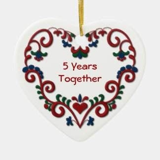 Scandinavian Heart 5 Years Together Ceramic Heart Ornament