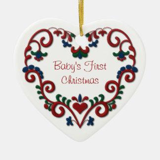 Scandinavian Heart Babys First Christmas Ceramic Heart Ornament