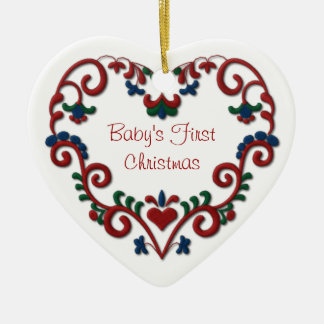 Scandinavian Heart Babys First Christmas Ceramic Ornament