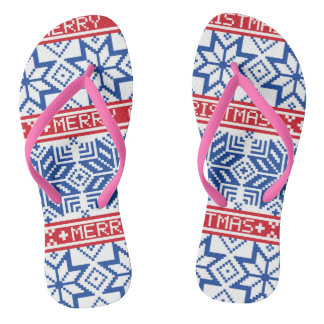 Scandinavian Merry Christmas Flip Flops