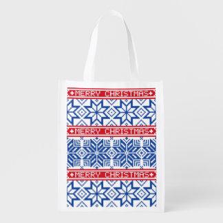 Scandinavian Merry Christmas Reusable Grocery Bag
