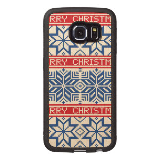 Scandinavian Merry Christmas Wood Phone Case
