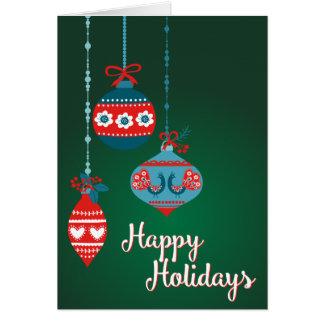 Scandinavian Ornaments Happy Holidays Card