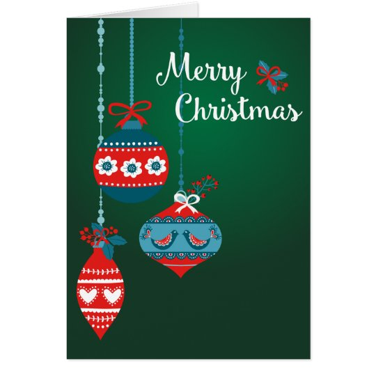 Scandinavian Ornaments Merry Christmas Card