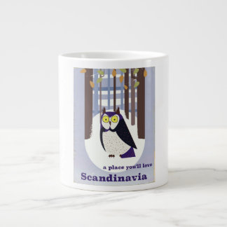 Scandinavian Owl in the forest Vintage poster Large Coffee Mug