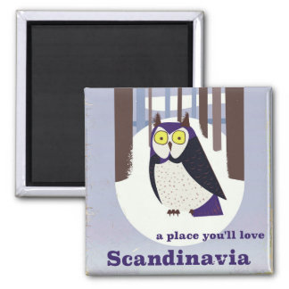 Scandinavian Owl in the forest Vintage poster Magnet