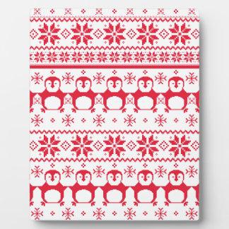 Scandinavian Penguin Holiday Design Plaque