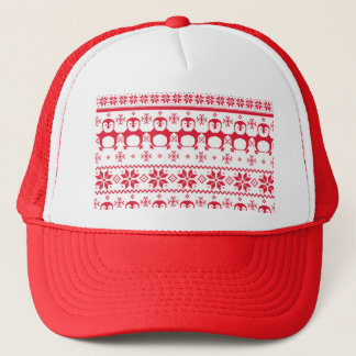 Scandinavian Penguin Holiday Design Trucker Hat