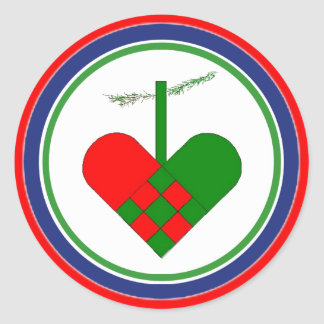 Scandinavian Straw Christmas Basket Classic Round Sticker