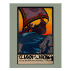 Scandinavian Vintage Travel Ad with Viking Ship Poster