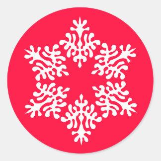 Scandinavian White Christmas Snowflake Classic Round Sticker