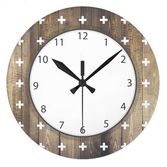 Scandinavian White Plus Signs Wooden Planks Large Clock