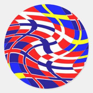 Scandinavy Wavy Classic Round Sticker