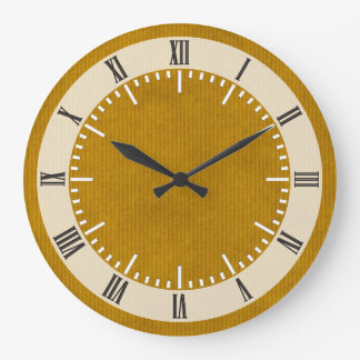 Scanned Kraft Paper Texture Strong Mustard Large Clock