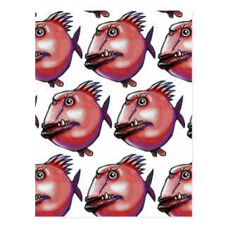 scar face fish tiled pattern red postcard