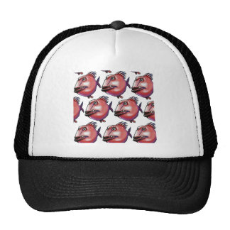 scar face fish tiled pattern red trucker hat