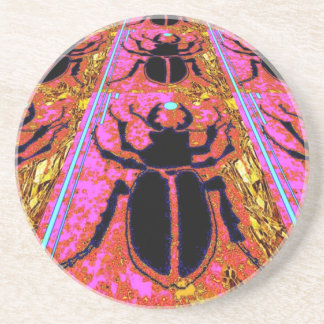Scarab Beetle pink -Gold gifts by Sharles Coasters