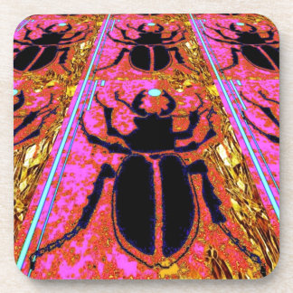 Scarab Beetle pink -Gold gifts by Sharles Drink Coasters