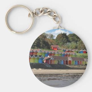 Scarborough Beach Huts Basic Round Button Keychain