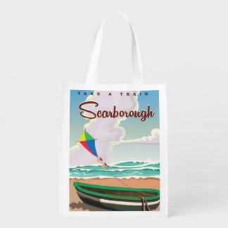 Scarborough beach travel poster reusable grocery bag