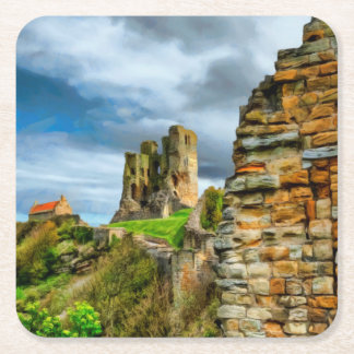 Scarborough Castle Square Paper Coaster