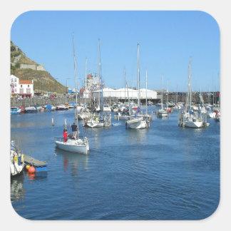 Scarborough harbour square sticker