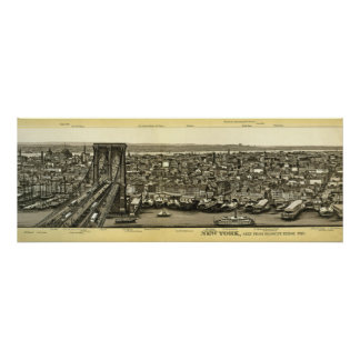 Scarce 1880 Brooklyn NY Panorama Poster