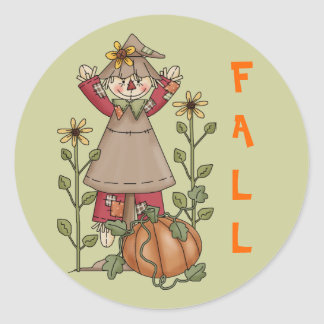Scarecrow 1 Pumpkin Fall Sunflowers Round Sticker