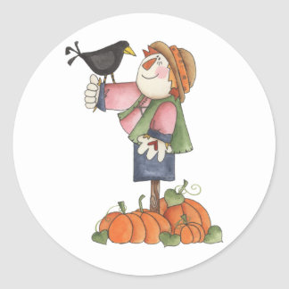 Scarecrow and crow round sticker