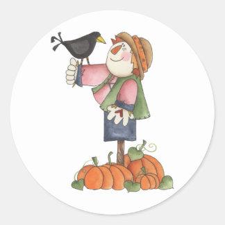 Scarecrow and crow round sticker