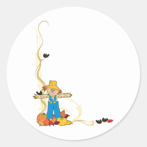 Scarecrow Corner Round Stickers