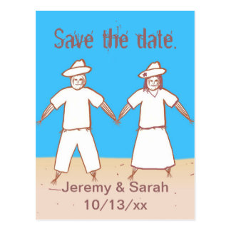 Scarecrow Couple Save the date Postcards