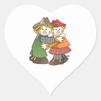 Scarecrow Couple Heart Stickers