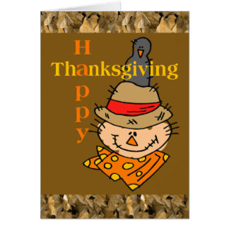 Scarecrow & Crow Thanksgiving Card