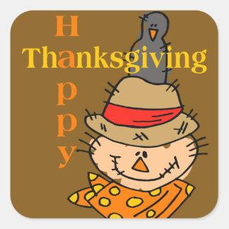 Scarecrow & Crow Thanksgiving Square Sticker
