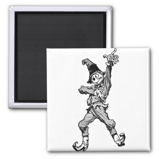 Scarecrow Dancing Disco Style Square Magnet