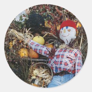 Scarecrow Decoration Round Sticker