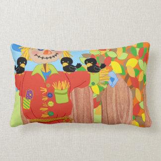 scarecrow fence scene i lumbar pillow