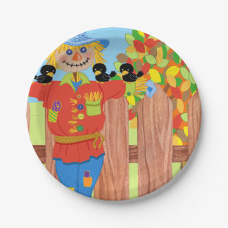 scarecrow fence scene i paper plate